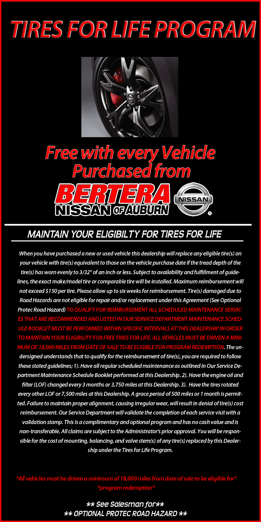 Bertera Nissan Tires for Life Program