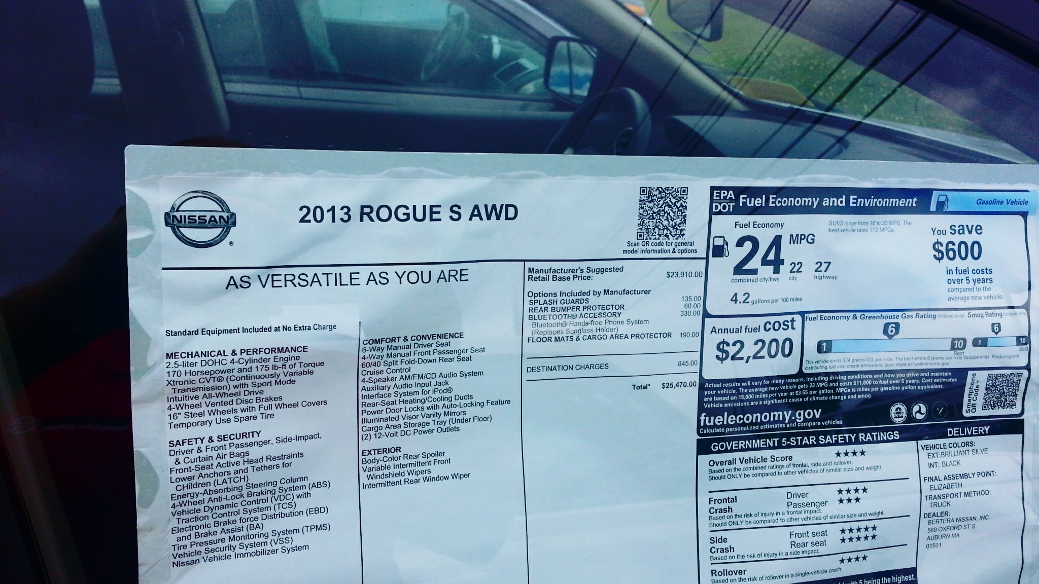 2013 Nissan Rogue Window Sticker